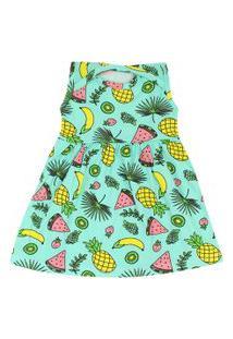 Vestido Bebê Regata Cotton Verde Frutinhas (P/M/G) - Kappes - Tamanho M - Verde