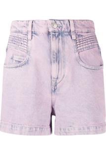 Isabel Marant Étoile Short Jeans Com Efeito Lavagem - Rosa