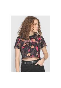 Camiseta Cropped Colcci Folhagem Preta/Rosa