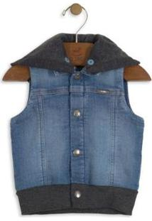 Colete Jeans Infantil Up Baby Masculino - Masculino-Azul Escuro