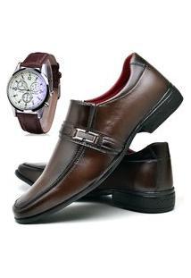 Sapato Social Fashion Com Relógio Dubuy 827El Marrom