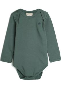 Body Milon Infantil Liso Verde