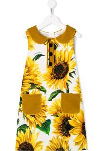 Dolce & Gabbana Kids Vestido Com Estampa De Girassol - Amarelo