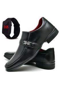 Sapato Social Fashion Com Relógio Led Dubuy 827El Preto