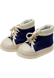 Tênis Cano Alto Confort Sapatinhos Baby Bege E Azul Marinho