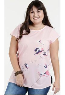 540f768ab Blusa Feminina Plus Size Estampa Floral Manga Curta Marisa