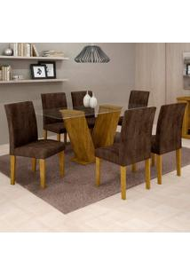Conjunto De Mesa De Jantar Com 6 Cadeiras Classic Veludo Ypê E Marrom
