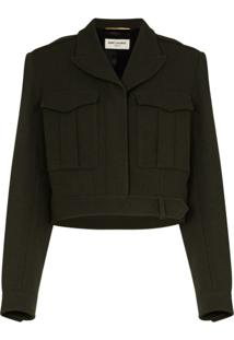 Saint Laurent Cropped Military-Style Jacket - Verde