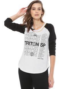 Camiseta Triton Raglan Estampada Branca