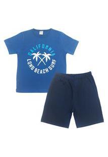 Conjunto Pijama Infantil Masculino Em Meia Malha California Índigo/Marinho Multicolorido