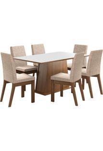 Sala De Jantar Madesa Rebeca Mesa Tampo De Madeira Com 6 Cadeiras Branca/Bege