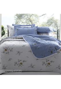 Edredom Crayon Floral Casal - Branco & Azul - 220X25Sultan