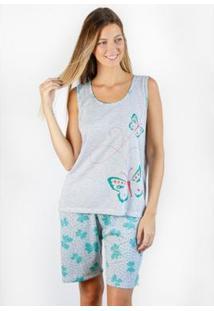 Pijama Regata Gislal Verão Shorts Borboleta Feminino - Feminino-Cinza