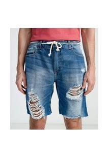 Bermuda Slim Em Jeans Destroyed Com Cordão