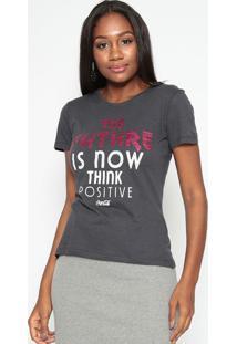 "Camiseta ""The Future"" Com Paetãª- Cinza & Rosa- Coca-Coca-Cola"