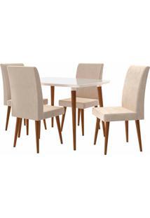 Conjunto Mesa De Jantar Jade C/ 4 Cadeiras 1,20X0,90 Pã©S Palito White Rv Mã³Veis Bege - Bege - Dafiti
