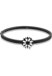 Bracelete Flor Com Zircônias Na Cor Gelo Folheado A Ródio Negro