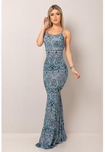 Vestido Longo Viscolycra Decotado Sereia Estampa Azul