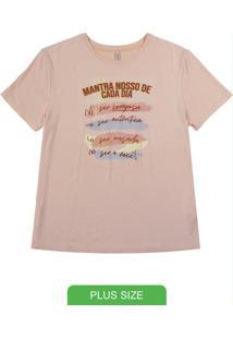 Blusa Manga Curta T-Shirt Com Estampa Rosa