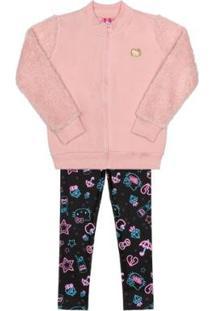 Conjunto Jaqueta E Legging Bebê Hello Kitty Feminino - Feminino-Rosa