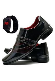 Sapato Social Masculino Com Verniz Asgard Com Relógio Led Db 632Lbm Vermelho