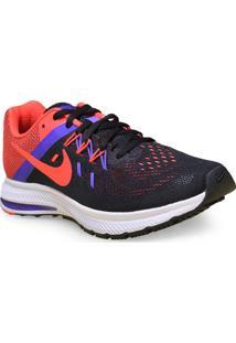 Tenis Fem Nike 807279-006 Zoom Winflo 2 Preto/Coral/Roxo