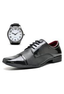 Sapato Social Com Relógio New Dubuy 707Mr Preto