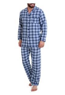 3e9c486cbf7362 Pijama Flanela Masculino Xadrez (926) 100% Algodão