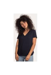 Camiseta Decote V Ampla Em Modal Preto