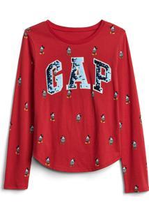 Camiseta Gap Infantil Mickey E Minnie Vermelha