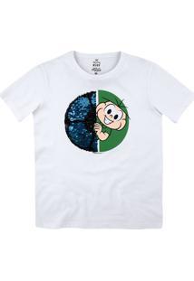 Camiseta Infantil Menino Com Bordado Interativo Turma Da Mônica Hering Kids
