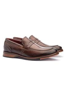 Sapato Masculino Loafer Sola De Couro Com Borracha Cacau