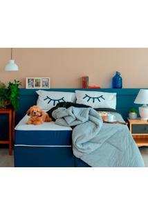 Cama Box Click King Com Colchão Firme E Travesseiro Guldi Macio (39X192X203) Azul