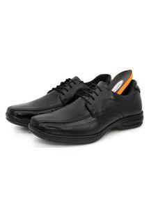 Sapato Conforto Cadarço Em Couro Palmilha Gel Br2 Footwear Preto