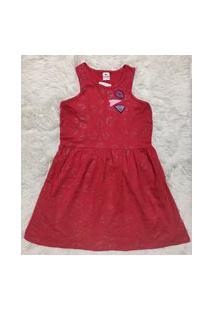 Vestido Infantil Menina Vermelho Estampado Com Patch E Glitter - Tam 16