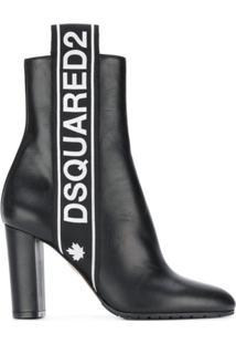 Dsquared2 Ankle Boot Com Logo - Preto