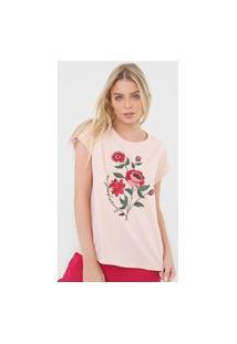 Camiseta Lança Perfume Bordado Floral Rosa