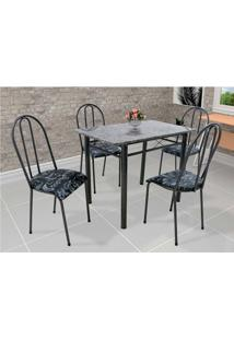 Conjunto De Mesa Com 4 Cadeiras Genebra Couro Sintético Preto Floral