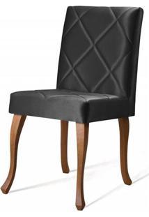 Cadeira Copas Matelasse Preto Base Castanho - 50546 - Sun House