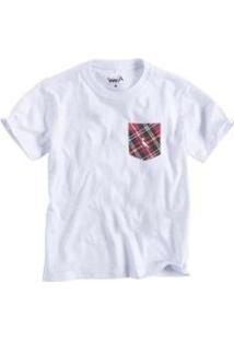 Camiseta Infantil Bolso Xadrez Junino Reserva Mini Masculina - Masculino-Branco