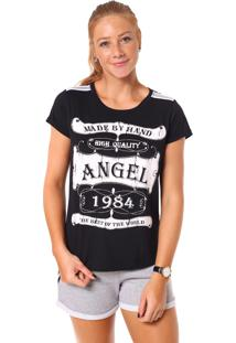 T Shirt Angel Manga Curta Frame Preto