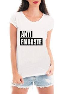 Camiseta Criativa Urbana Anti Embuste Feminina - Feminino-Branco