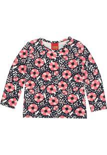 Camiseta Kyly Menina Floral Preta/Rosa