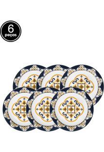 Conjunto 6Pçs Pratos Rasos Oxford Cerâmica Floreal São Luís Branco/Azul/Amarelo
