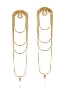 Brinco Chains Diamante Amarelo C/ Diam Branco - U