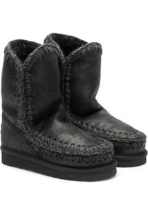 Mou Kids Stitched Slip-On Boots - Preto