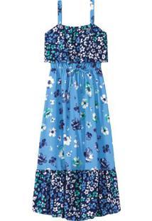 Vestido Azul Longo Floral Menina