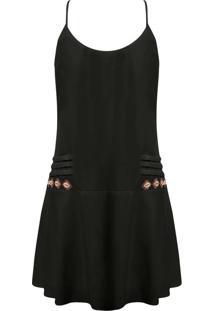 Vestido Com Alças E Búzios Preto Reativo - Lez A Lez