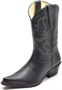 Bota Country Top Franca Shoes Black Masculina - Masculino-Preto