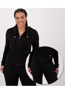 Agasalho Puma Clean Sweat Suit Cl Feminino Preto